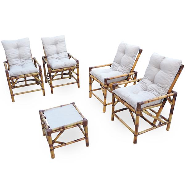 Kit Cadeiras de Bambu 4 Lugares com Almofadas Cinza