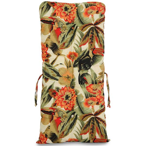 Kit Cadeiras de Bambu 4 Lugares com Almofadas Flores Laranja