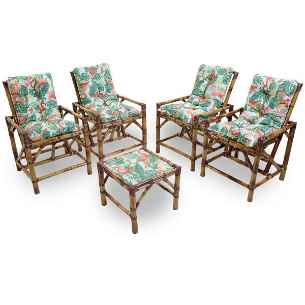 Kit Cadeiras de Bambu 4 Lugares com Almofadas Impermeáveis Aruba