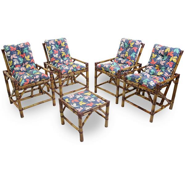 Kit Cadeiras de Bambu 4 Lugares com Almofadas Impermeáveis Barça