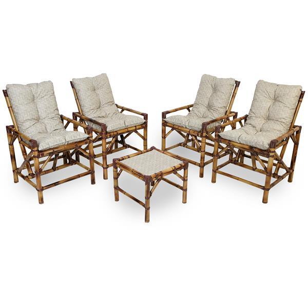 Kit Cadeiras de Bambu 4 Lugares com Almofadas Impermeáveis Bege