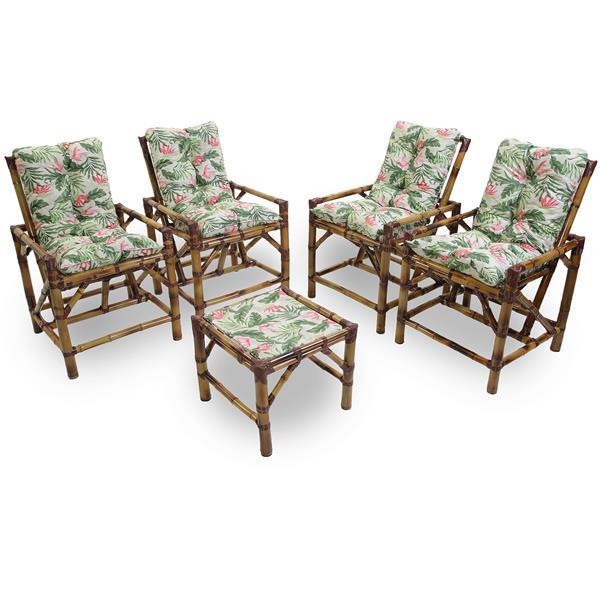 Kit Cadeiras de Bambu 4 Lugares com Almofadas Impermeáveis Flor