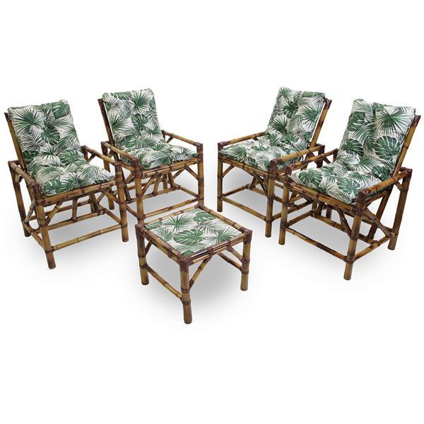 Kit Cadeiras de Bambu 4 Lugares com Almofadas Impermeáveis Folha