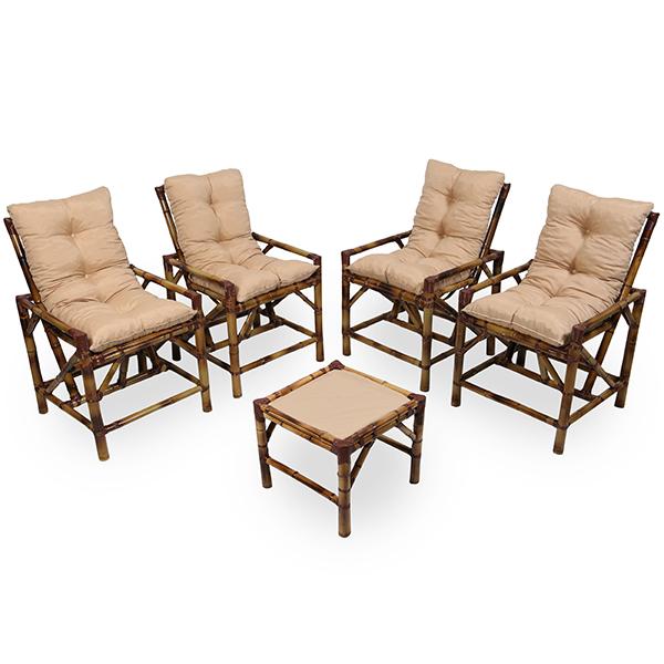 Kit Cadeiras de Bambu 4 Lugares com Almofadas Nude
