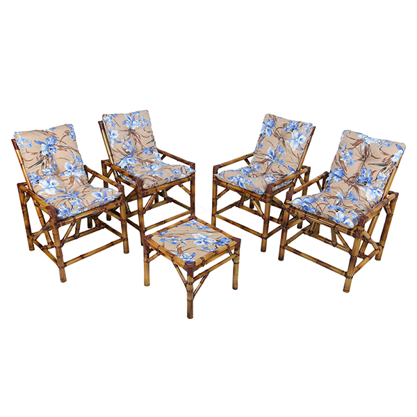 Kit Cadeiras de Bambu 4 Lugares com Almofadas Orquídea Azul
