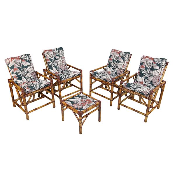 Kit Cadeiras de Bambu 4 Lugares com Almofadas Orquídea Marrom