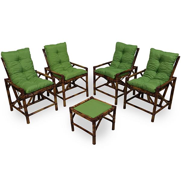 Kit Cadeiras de Bambu 4 Lugares com Almofadas Verde