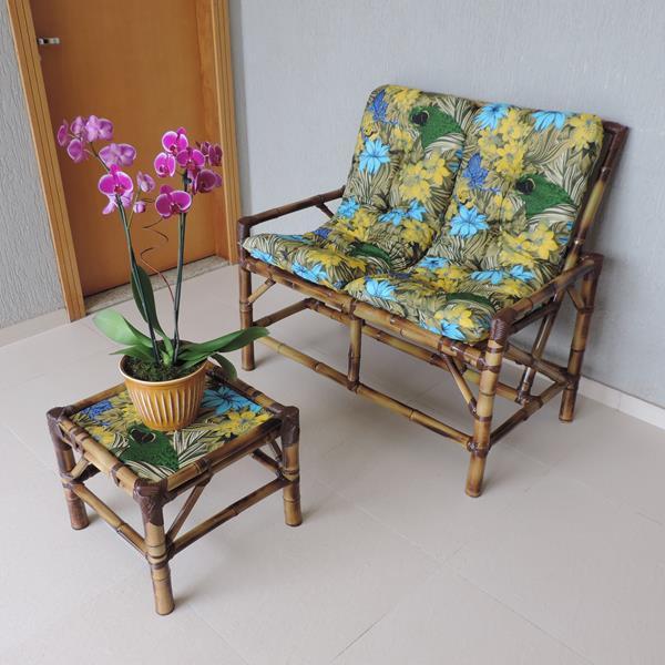 Kit Sofá de Bambu 2 Lugares com Almofadas Araras