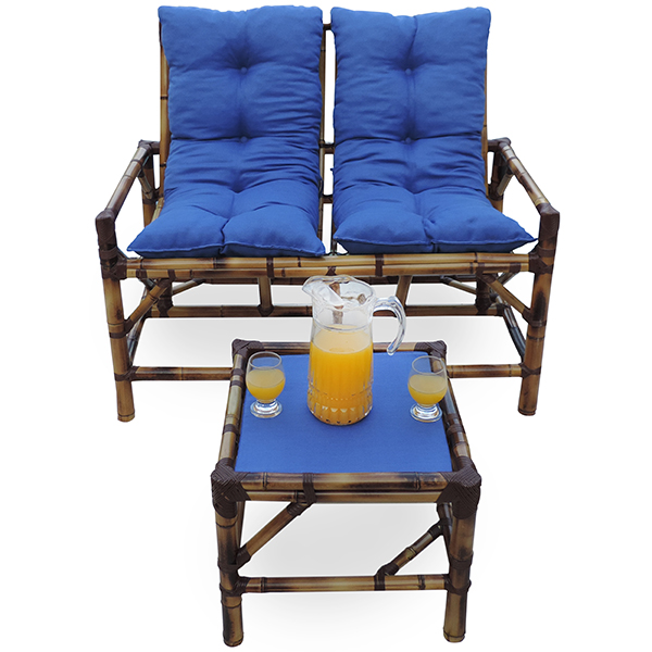 Kit Sofá de Bambu 2 Lugares com Almofadas Azul