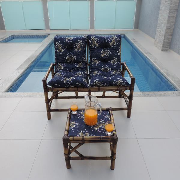 Kit Sofá de Bambu 2 Lugares com Almofadas Azul Florida