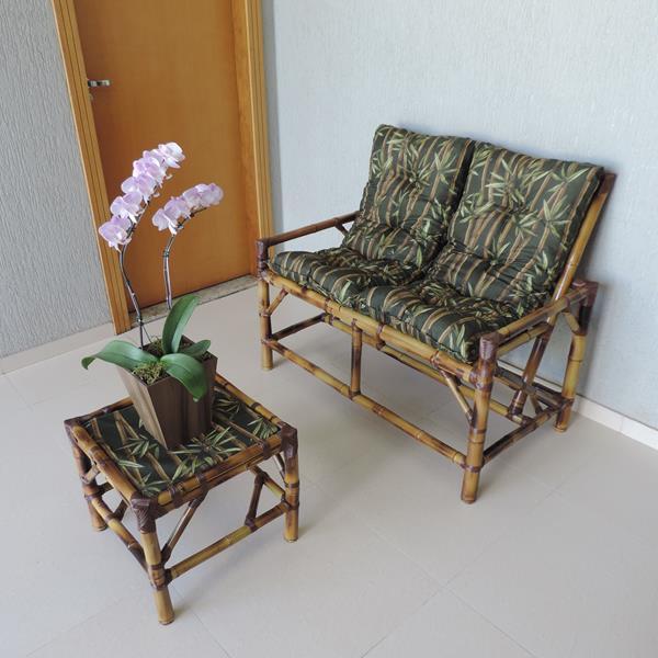 Kit Sofá de Bambu 2 Lugares com Almofadas Bambu Escuro