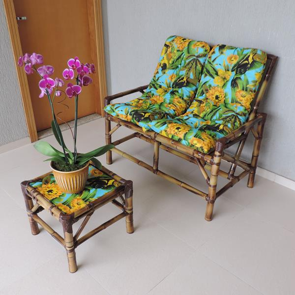 Kit Sofá de Bambu 2 Lugares com Almofadas Flor Amarela