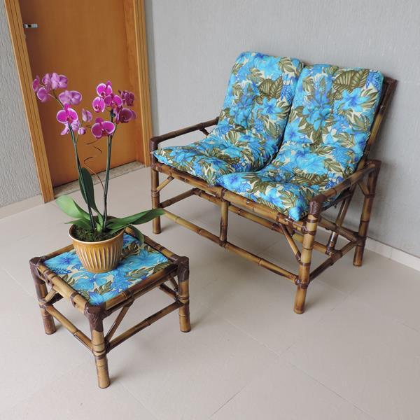 Kit Sofá de Bambu 2 Lugares com Almofadas Flor Azul