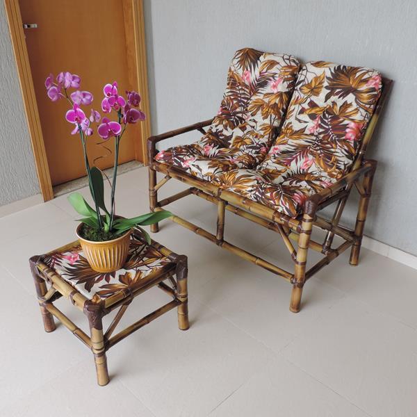 Kit Sofá de Bambu 2 Lugares com Almofadas Folhagem Outono