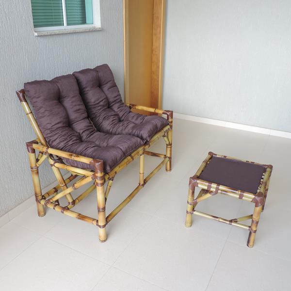 Kit Sofá de Bambu 2 Lugares com Almofadas Marrom