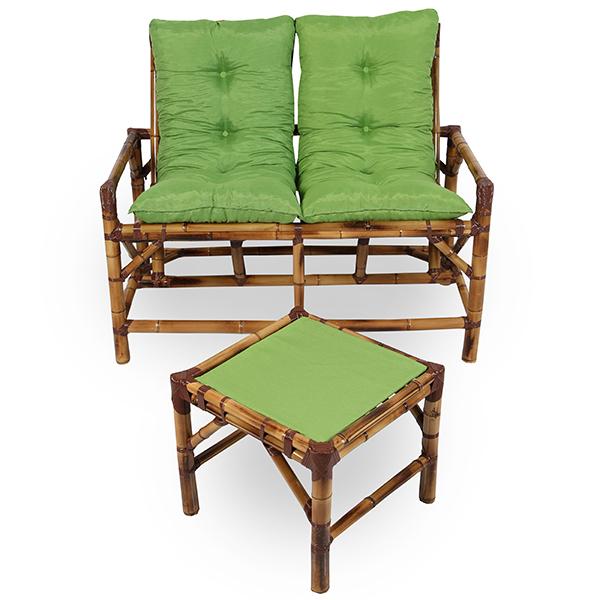 Kit Sofá de Bambu 2 Lugares com Almofadas Verde