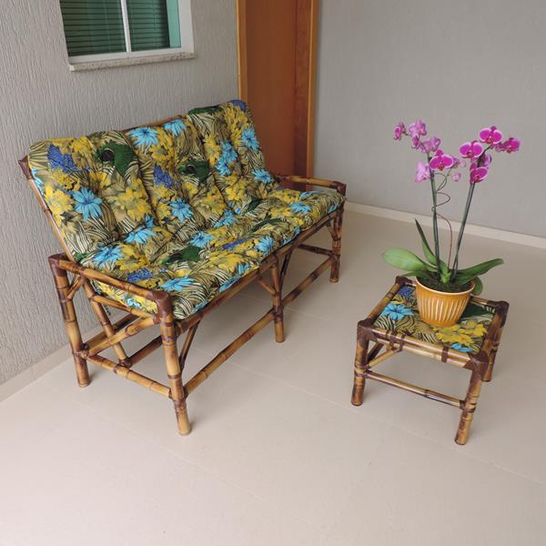 Kit Sofá de Bambu 3 Lugares com Almofadas Araras