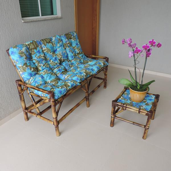 Kit Sofá de Bambu 3 Lugares com Almofadas Flor Azul