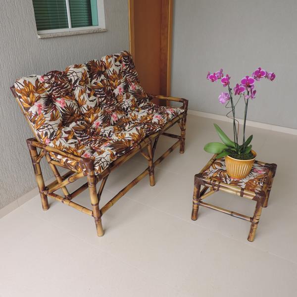 Kit Sofá de Bambu 3 Lugares com Almofadas Folhagem Outono