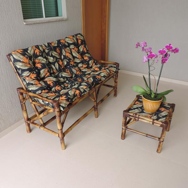 Kit Sofá de Bambu 3 Lugares com Almofadas Helicônia