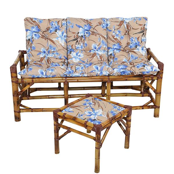 Kit Sofá de Bambu 3 Lugares com Almofadas Orquídea Azul
