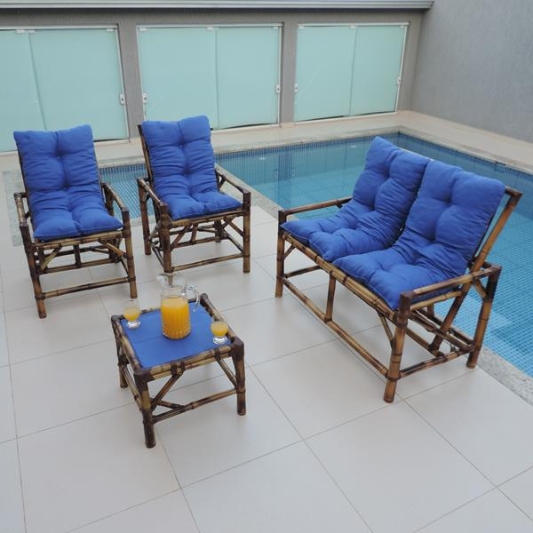 Kit Sofá de Bambu 4 Lugares com Almofadas Azul