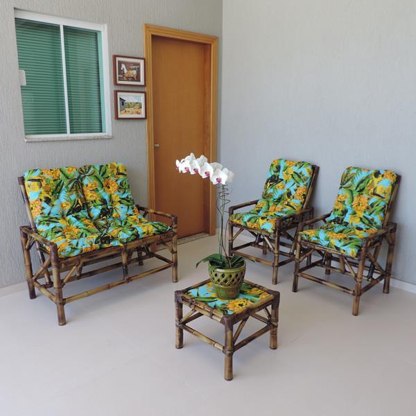 Kit Sofá de Bambu 4 Lugares com Almofadas Flor Amarela