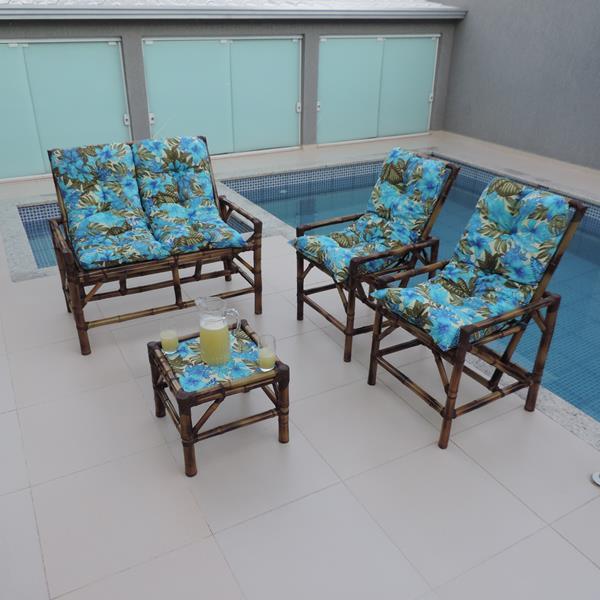 Kit Sofá de Bambu 4 Lugares com Almofadas Flor Azul