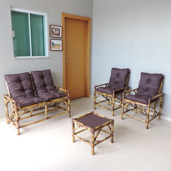 Kit Sofá de Bambu 4 Lugares com Almofadas Marrom