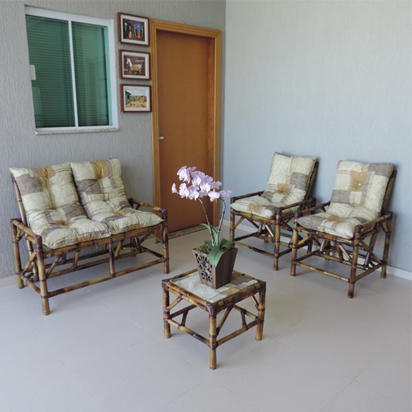 Kit Sofá de Bambu 4 Lugares com Almofadas Retalho Bege