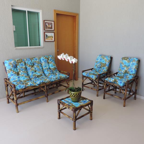 Kit Sofá e Cadeiras de Bambu 5 Lugares com Almofadas Flor Azul