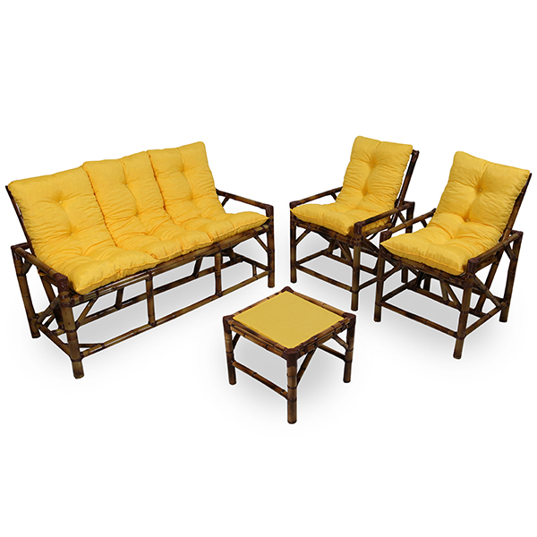 Kit Sofá e Cadeiras de Bambu 5L com Almofadas Amarela