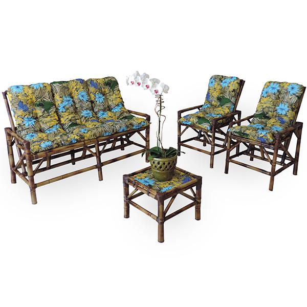 Kit Sofá e Cadeiras de Bambu 5L com Almofadas Araras