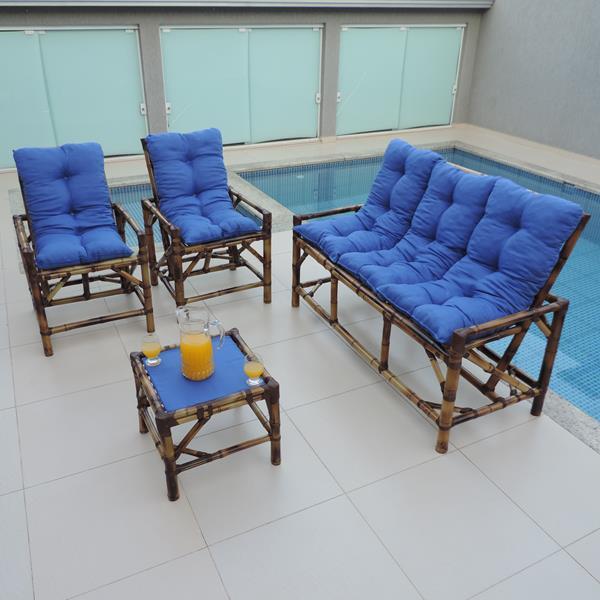 Kit Sofá e Cadeiras de Bambu 5L com Almofadas Azul