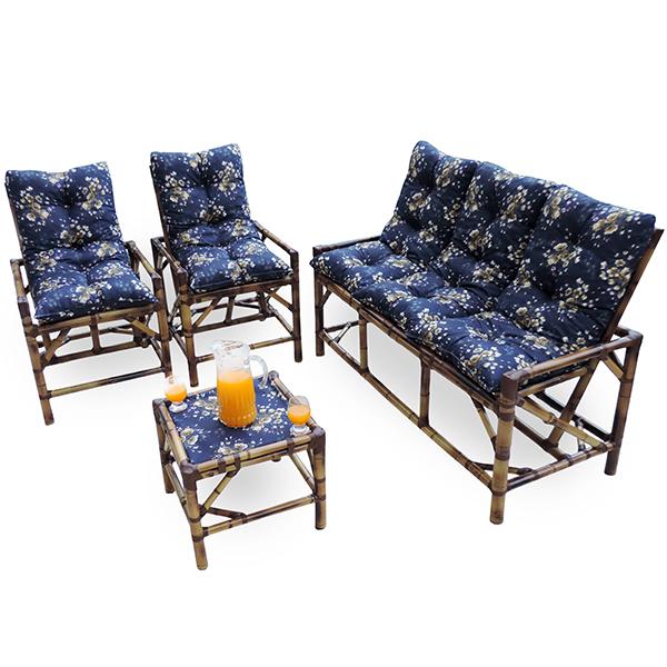 Kit Sofá e Cadeiras de Bambu 5L com Almofadas Azul Florida