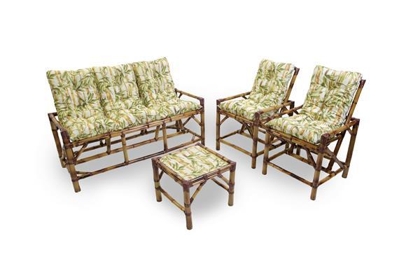 Kit Sofá e Cadeiras de Bambu 5L com Almofadas Bambu Claro