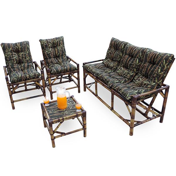 Kit Sofá e Cadeiras de Bambu 5L com Almofadas Bambu Escuro