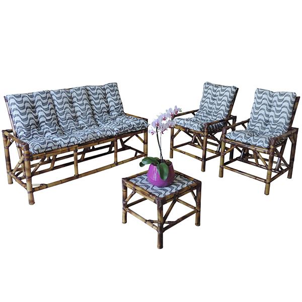 Kit Sofá e Cadeiras de Bambu 5L com Almofadas Copacabana