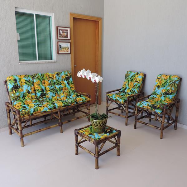 Kit Sofá e Cadeiras de Bambu 5L com Almofadas Flor Amarela