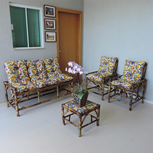 Kit Sofá e Cadeiras de Bambu 5L com Almofadas Floral