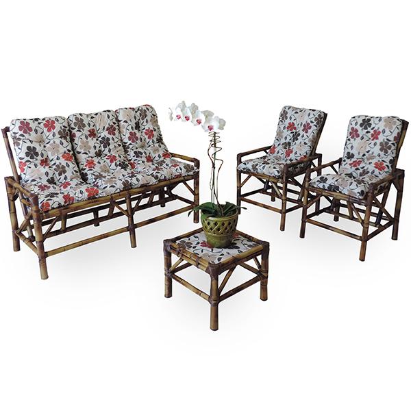 Kit Sofá e Cadeiras de Bambu 5L com Almofadas Flores Hibiscos
