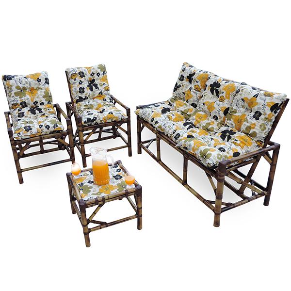 Kit Sofá e Cadeiras de Bambu 5L com Almofadas Flores Preta