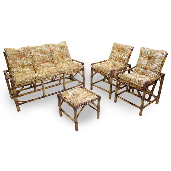 Kit Sofá e Cadeiras de Bambu 5L com Almofadas Folhagem Claro
