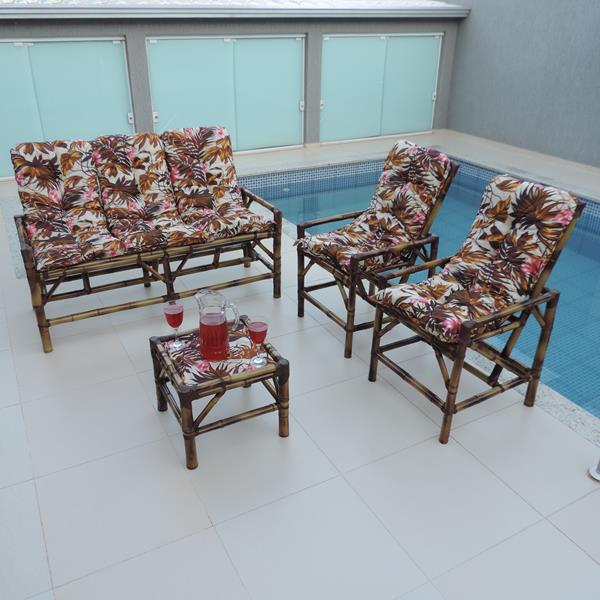 Kit Sofá e Cadeiras de Bambu 5L com Almofadas Folhagem Outono