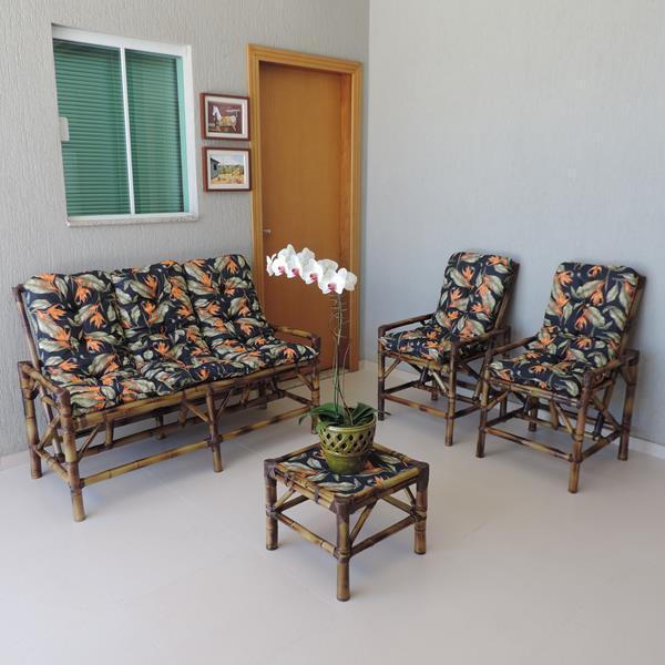 Kit Sofá e Cadeiras de Bambu 5L com Almofadas Helicônia