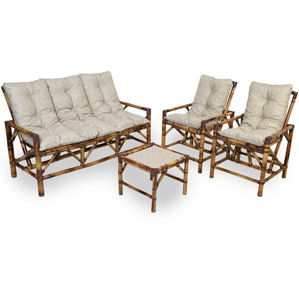 Kit Sofá e Cadeiras de Bambu 5L com Almofadas Impermeáveis Bege