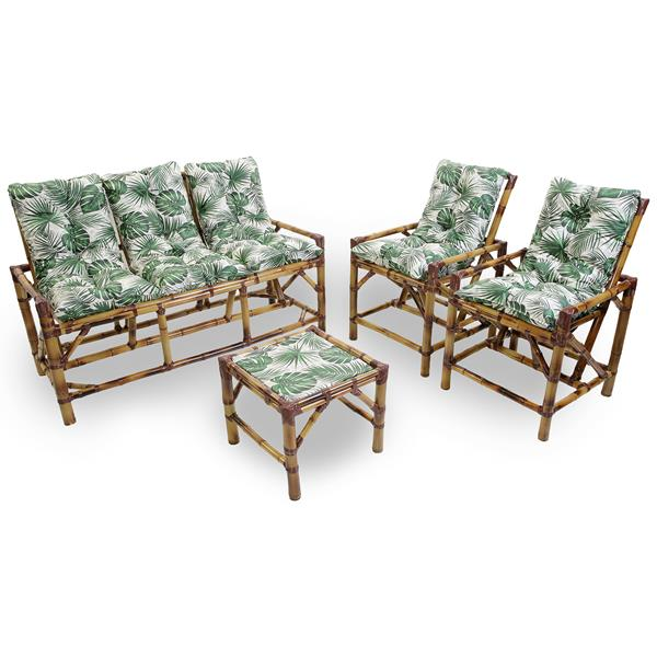 Kit Sofá e Cadeiras de Bambu 5L com Almofadas Impermeáveis Folha