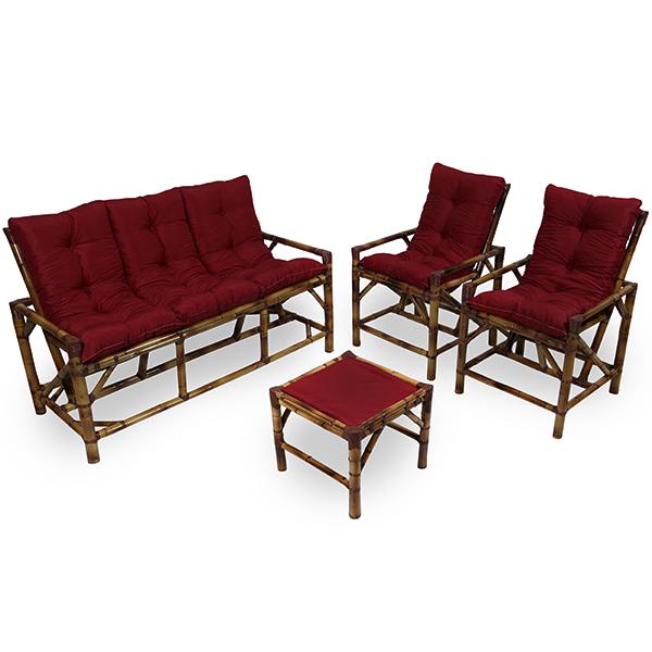 Kit Sofá e Cadeiras de Bambu 5L com Almofadas Marsala
