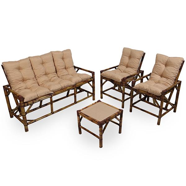 Kit Sofá e Cadeiras de Bambu 5L com Almofadas Nude