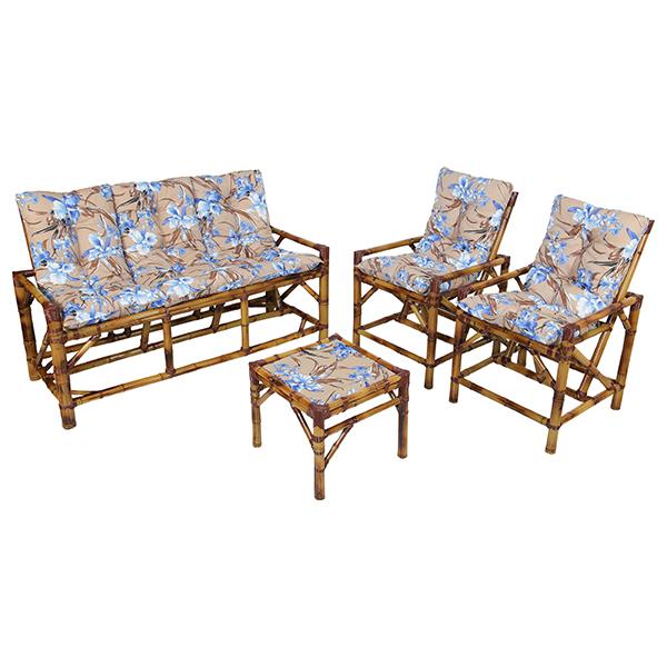 Kit Sofá e Cadeiras de Bambu 5L com Almofadas Orquídea Azul
